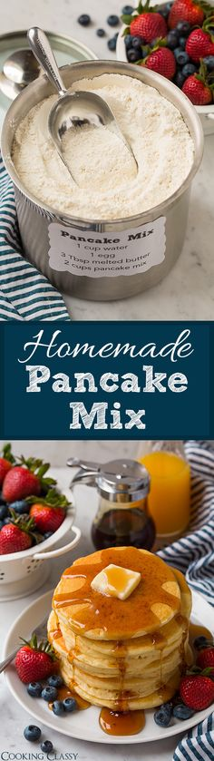 Homemade Pancake Mix Recipe – Cooking Classy Homemade Pancake Mix – you'll never need to buy the store-bought stuff again! Makes delicious, soft and fluffy pancakes every time. Homemade Spices, Homemade Seasonings, Homemade Butter, Pancakes And Waffles, Fluffy Pancakes, Pancakes Easy, Homemade Pancakes Fluffy, Breakfast Dishes, Breakfast Recipes