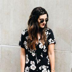 Black Floral Dress // Brandy Melville Louboutins & Love Fashion Blog by Esther Santer  #floral #dress #sunnies #braids #fashioninspo