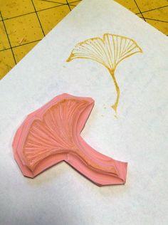 Gingko leaf hand-carved rubber stamp