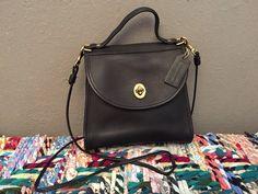 vintage black leather coach mini bag