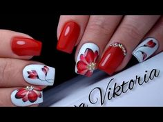 Beautiful and simple design of red flower nails. Gel Nail Art Designs, Flower Nail Designs, Nail Design Video, Colorful Nail Designs, Halloween Acrylic Nails, Red Acrylic Nails, Red Nails, Red And White Nails, Cute Christmas Nails