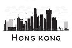 #Hong #Kong #City #skyline #silhouette by Igor Sorokin on @creativemarket