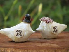 Rustic wedding cake topper  Personalized Love Birds by orlydesign, $88.00