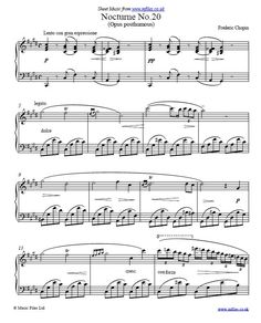 Frederic Chopin : Nocturne No.20 in C# minor (Opus Post.) for piano solo - sheet music, midi & mp3 files. Only 18 of Chopin's Nocturnes were published during his life. This piece wasn't originally labelled as a Nocturne, but it has all the hallmarks of the form so it was called  Nocturne No.20 when published after Chopin's death.