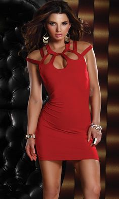 Forplay Passion Mini Dress - 3 Keyhole Chest Cutout Dress - RED - FREE SHIPPING! #Forplay #MiniDress #Clubwear