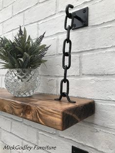 This Set of 2 Unique Industrial Chain Bracket Kits is just one of the custom handmade pieces youll find in our wall hangings shops. - Bracket Shelves - Ideas of Bracket Shelves Bespoke Furniture, Diy Furniture, Furniture Design, Quality Furniture, Furniture Vanity, Handmade Furniture, Furniture Stores, Furniture Outlet, Furniture Plans