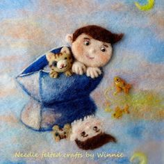 Needle felted 3D picture Stevie and his cat gone sailing