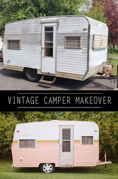 Camper Makeover Discover How to Paint a Vintage Camper - Whippy Cake This time Im doing Part my DIY Vintage Camper Makeover series. Let me show you How to Paint a Vintage Camper with style. Opel Vivaro Camper, Shasta Camper, Mini Camper, Popup Camper, Camper Caravan, Camper Life, Diy Camper Trailer, Caravan Paint, Happier Camper