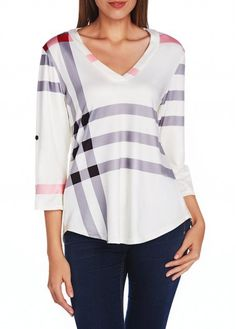Striped Three Quarter Sleeve V Neck T Shirt on sale only US$23.97 now, buy cheap Striped Three Quarter Sleeve V Neck T Shirt at lulugal.com