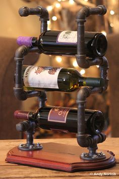 Wine Rack in Modern Industrial Style Handmade door steampunkartist1, $75.00