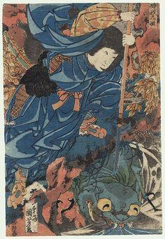 Kamigashi-hime Attacking an Earth Spider, circa 1825 - 1830 by Kuniyoshi (1797 - 1861)