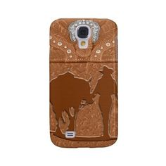 """Tooled Leather """"""""Cowgirl & Horse"""""""" Western IPhone 3 Galaxy S4 Cover ($32) ❤ liked on Polyvore featuring accessories and tech accessories"""