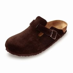 birkenstock boston mocha suede $117.00 Imitated by many, our original classic boston mocha suede clog is versatile for men, women and kids. Going strong after 30 years, this clog is a wardrobe basic year round. Enjoy the closed-toe comfort and support. Features an adjustable strap for fit.