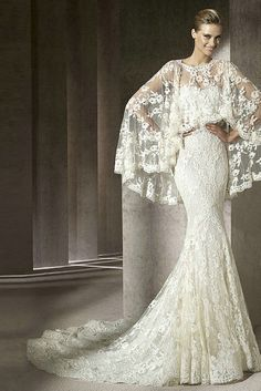 Lace Mermaid Best Sweetheart Casdual Wedding Gown With Unique Lace Cape - this cape/shawl