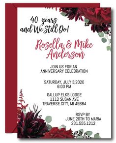 Celebrate your Anniversary with lovely floral anniversary invitations from Announce It! Available in printed or digital formats. Mail them out or send them digitally. Call to order today. Blank Wedding Invitations, 50th Anniversary Invitations, Ruby Anniversary, Rustic Invitations, Invitation Wording, Floral Invitation, Anniversary Parties, Wedding Invitation Templates, Wedding Anniversary