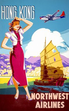 Hong Kong, Northwest Airlines, vintage travel poster