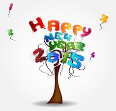 Ilustración con el árbol y globos - Feliz Año Nuevo 2015. Foto de archivo. Happy New Year 2015.