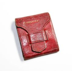 Red Leather Small Pocket Needle Case (c1930s) by GillardAndMay on Etsy