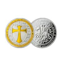 Free Masonic Knight Templar Symbol Silver Clad Yellow Paint Templar Round Gift Collectable Coins