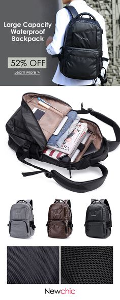 US 34.62 Large Capacity USB Charging Port Waterproof Backpack For Men  backpacking  bags   fc3076322f