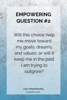 Make choices that move you toward your dreams, not ones that keep you stuck in the past. Learn more empowering questions that help you make better choices. Pursue your dreams. Business Motivational Quotes, Goal Quotes, Life Lesson Quotes, Business Quotes, Life Quotes, Inspirational Quotes, Quotes Quotes, Encouragement Quotes, Wisdom Quotes