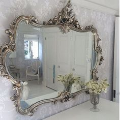 2019 Latest Design Espejo De Pared Blanco Plata Antiguo Barroco Bad Pasillo Vanidad Rectangular Wide Varieties Muebles Antiguos Y Decoración Espejos