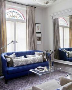 cobalt blue sofa.