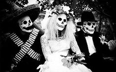Village Bicycle, mariachi band, skeleton, black & white, Halloween, day of the dead