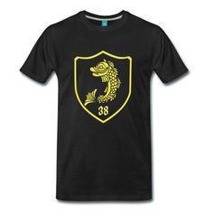 design de tee-shirt Grenoble avec le dauphin sous forme de blason style trône de fer. Shirt Shop, T Shirt, Grenoble, School Gifts, Mens Tops, Shopping, Design, Style, Coat Of Arms