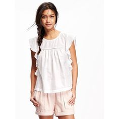 Old Navy Embroidered Ruffle Sleeve Top For Women ($20) ❤ liked on Polyvore featuring tops, blouses, petite, white, flutter sleeve top, white blouse, old navy blouses, embroidered blouse and embroidery top