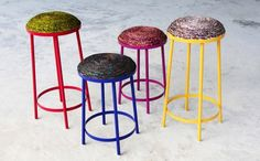 Stools upholstered in wound wax-print fabric by Simone Post. Image: Simone Post.