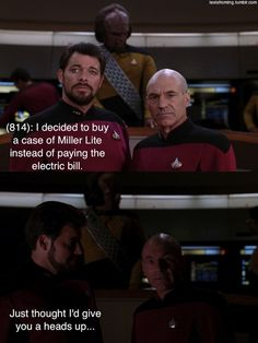 This blog combines Texts From Last Night with screencaps from TNG. It is brilliant.