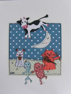 Quirky, nursery rhyme, paper collage picture, hey diddle diddle £20.00