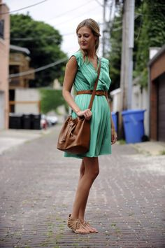 thrifted dress (no label, from Buffalo Exchange), thrifted no-name belt (eBay a few years back), Chloé bag, Dolce Vita sandals  #dress style