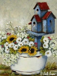♥Artist Stella Bruwer white enamel tub sunflowers daisies 3 blue birdhouses