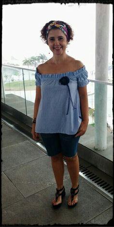 Lenço #Hermés, Blusa Bom Retiro/SP, Bermuda, ex calça #GuaranaBrasil e Sandália #Shoestock.