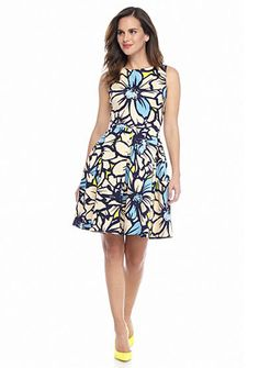 Taylor Floral Printed Fit and Flare Dress
