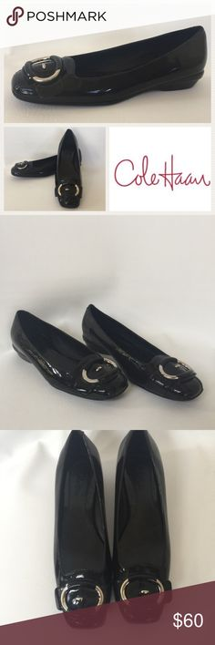 New Cole Haan 7.5 B Black Patent Leather Flats NWOT or box.  Black patent leather flat.  Size 7.5 B.  Some minor scuffs to soles from store try ones.  Logo is internet stock photo.  All other photos are of actual shoes. Cole Haan Shoes Flats & Loafers