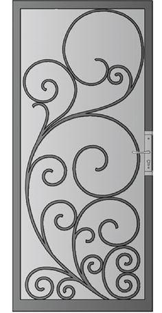 Ideas Screen Door Ideas Decor Wrought Iron For 2019 Wrought Iron Garden Gates, Wrought Iron Doors, Metal Screen Doors, Window Bars, Security Screen, Front Door Design, Iron Decor, Screen Design, Steel Doors