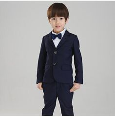 Spring and Autumn Kids Children's suits two button suit black ...