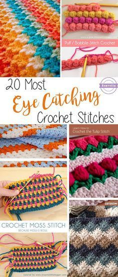 20 most eye catching crochet stitches Below are 20 fun, unique crochet stitches to try on your next project! They range from beginner friendly to more complex, and the links provided feature instructions or tutorials on the stitches. Stitch Crochet, Bag Crochet, Crochet Diy, Crochet Crafts, Crochet Ideas, Crochet Summer, Crochet Tutorials, Crochet Granny, Video Tutorials