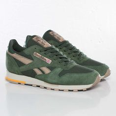 36f71443a73 Reebok Classic Leather Utility Olive Canvas Chino Parchment Retro Sneakers