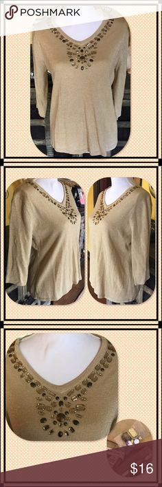 JM Collections Beaded Top This top is just gorgeous! Embellished neckline and comes with extras in case you lose any! NWT. JM Collections Tops