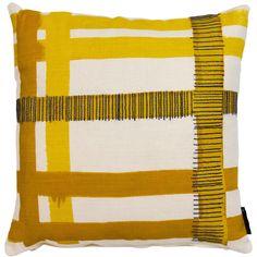 Hemingway Plaid - Yellow and Grey on Cream cushion