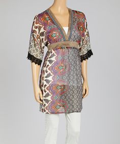 Take a look at the Purple Paisley Empire-Waist Dress on #zulily today!