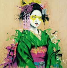 Fin DAC is a London-based graffiti artist who is famous with his portrait works. Art Geisha, Geisha Kunst, Graffiti Art, Abstract Watercolor, Watercolor Paintings, Abstract Oil, Abstract Paintings, Oil Paintings, Landscape Paintings
