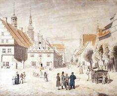 """""""Der Marktplatz von Greifswald mit der Familie Friedrich"""" von Caspar David Friedrich"""