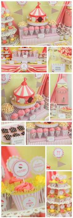 Pink Carnival Circus Birthday Party Like the Popcorn and flags by JazSanch Carnival Baby Showers, Circus Carnival Party, Carnival Birthday Parties, Circus Birthday, First Birthday Parties, Birthday Party Themes, First Birthdays, Circus Theme, Birthday Ideas