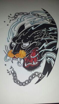 Black cat tattoo flash old school