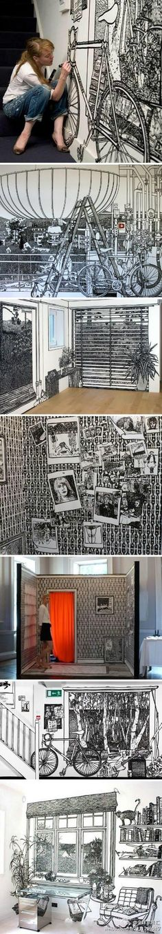 Charlotte Mann, a British artist known for her wall drawings and drawn room installations